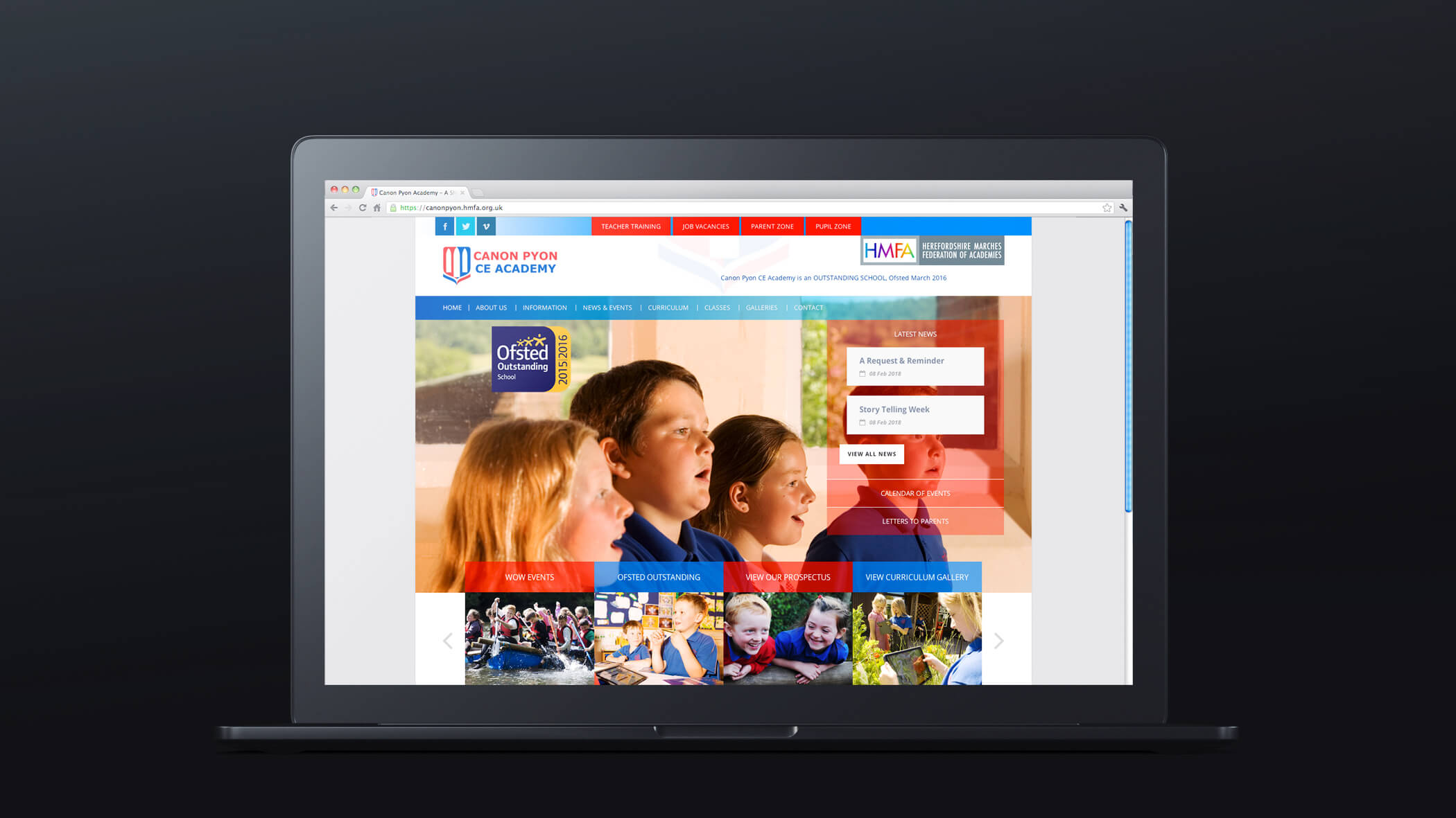 church of england school website design mockup with hyperlink to site
