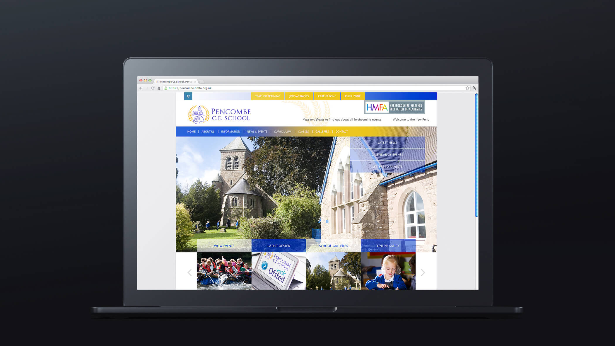 church school website design showing school photos