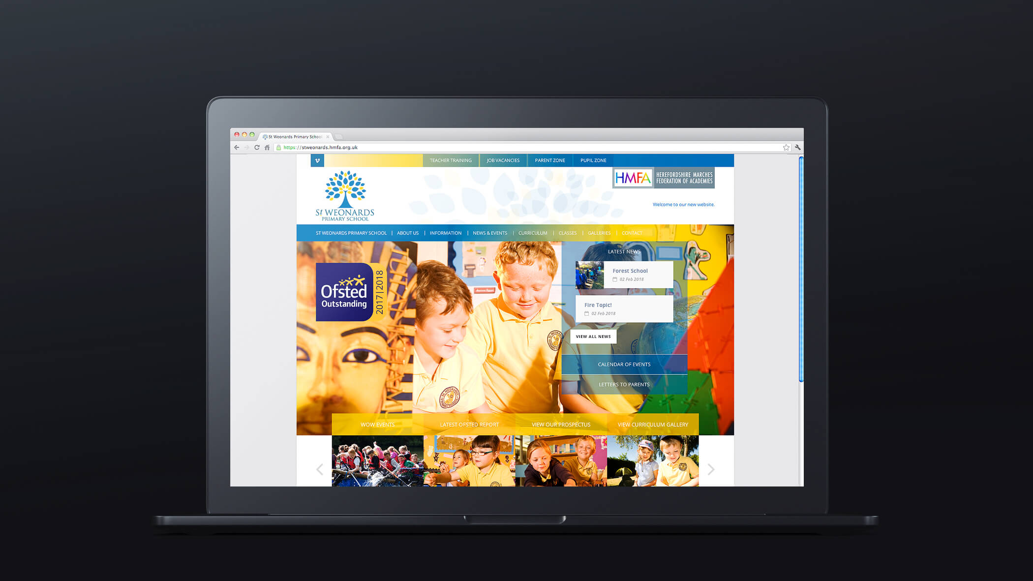 multi academy federation website homepage design showing school photography