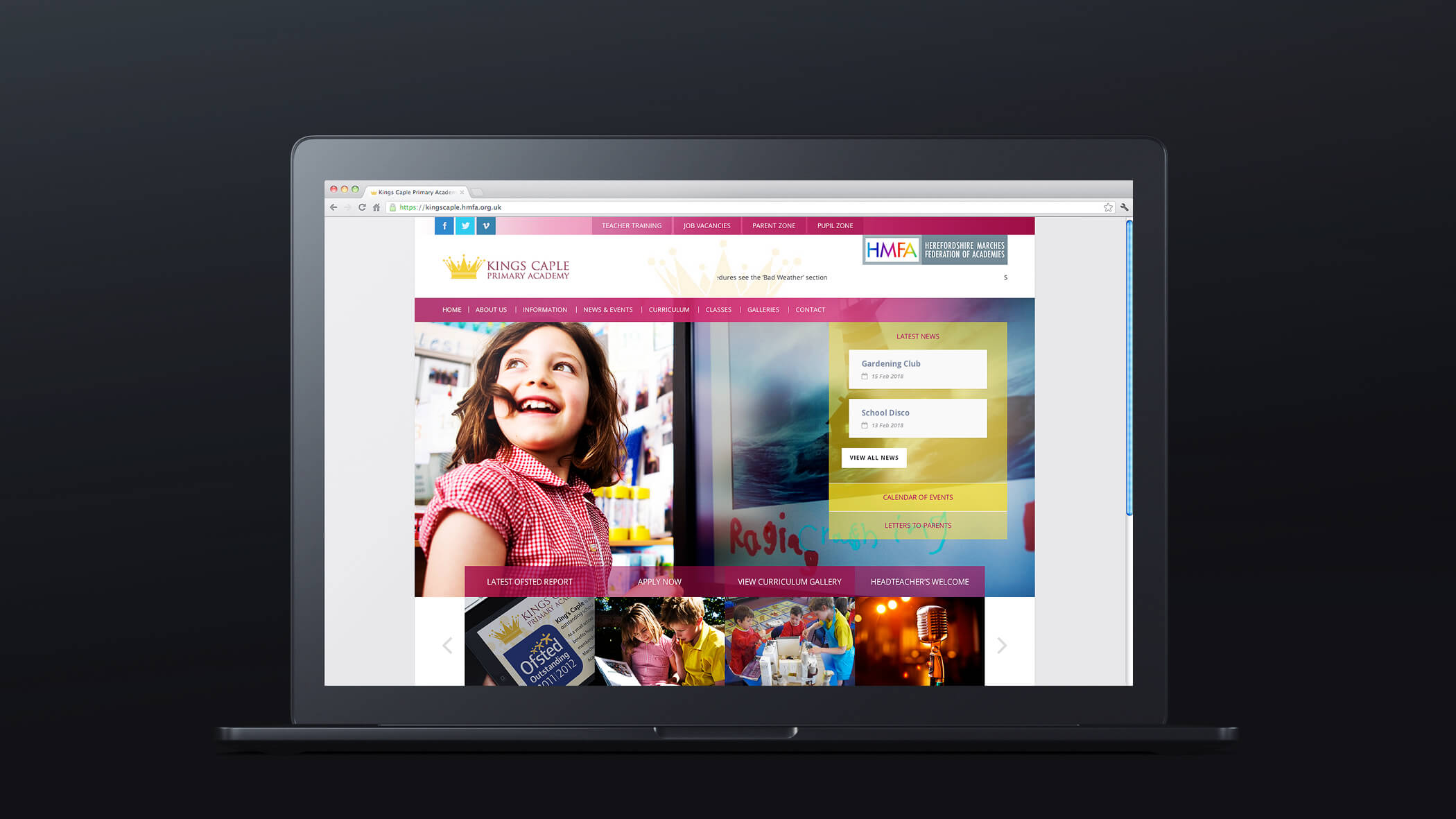 primary school website homepage design with hyperlink