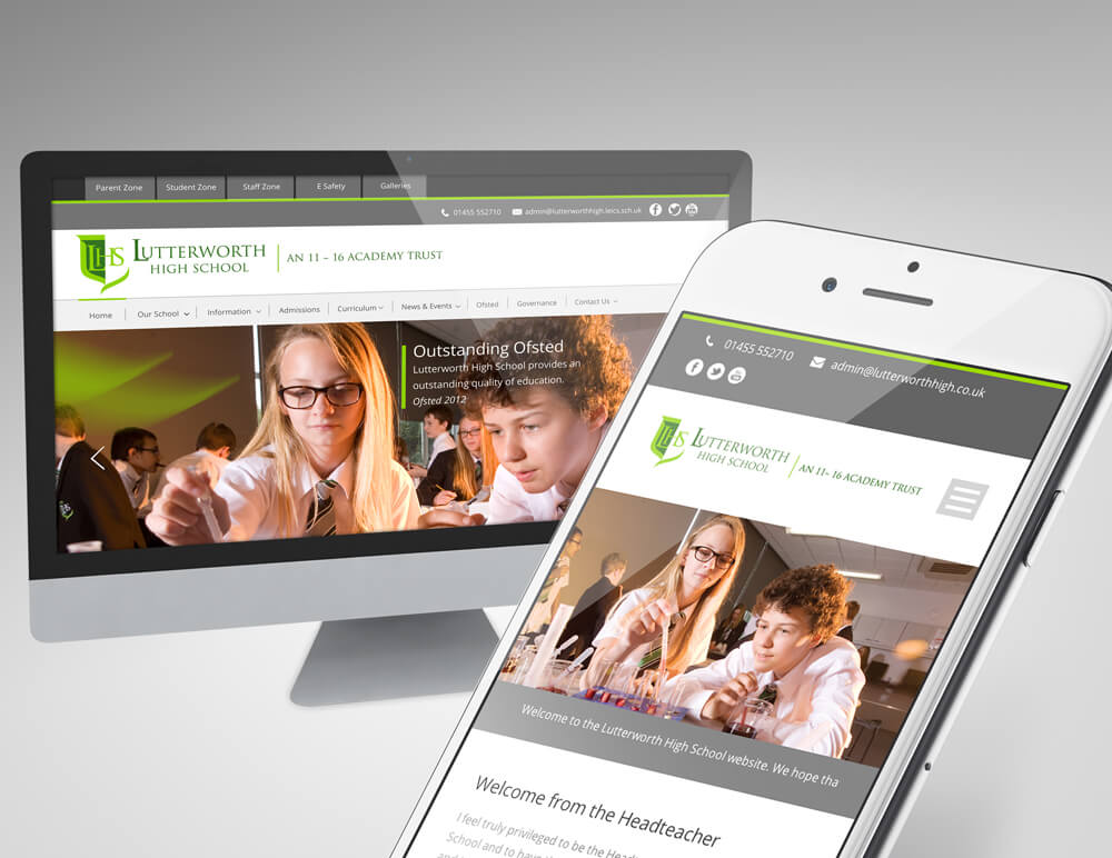 school website design on desktop and smartphone