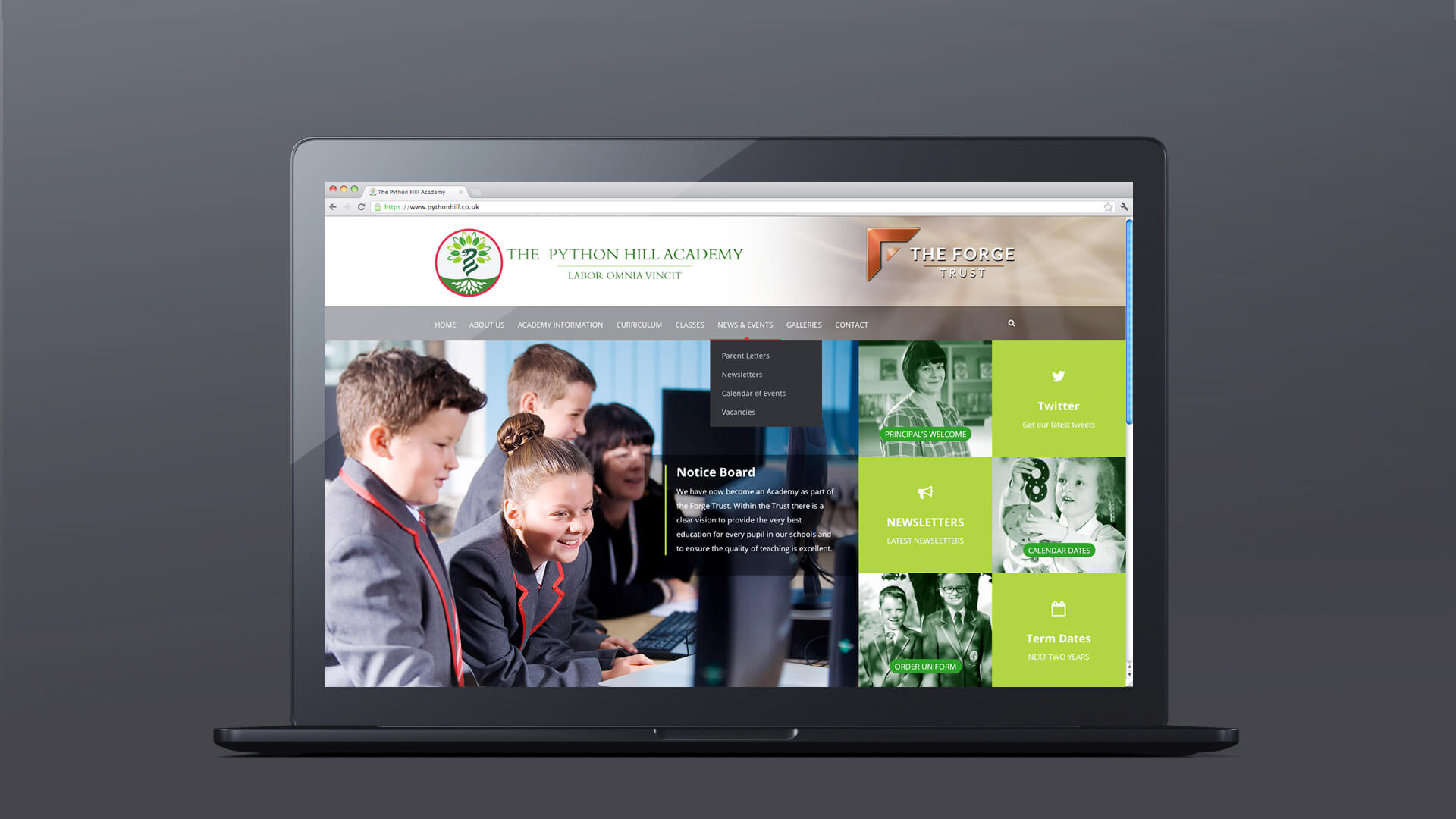 mansfield school website design